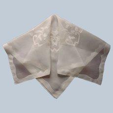 Madeira Tea Tablecloth Pale Yellow Appliqued Linen Organdy Vintage