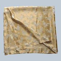 Satin Brocade Tablecloth or Bedspread Golden Yellow White Vintage