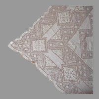 Handsome Ecru Lace Tablecloth Vintage 76 x 58