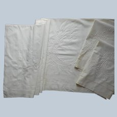 Italian Wedding Sheet Layover Pillow Shams Antique Unused