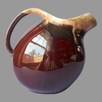Hull Brown Drip Slant Pitcher Vintage Pottery