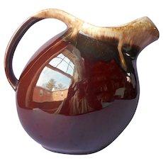Hull Brown Drip Slant Pitcher Vintage Pottery
