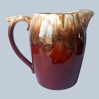 Hull Brown Drip Tall Pitcher Vintage Pottery