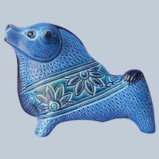 Mid Century Ceramic Bull Rimini Blue Style Vintage