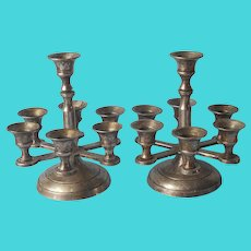 Pair 7 Light Candle Holders Vintage Silver Plated Brass