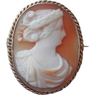 Antique Cameo Pin Goddess Hera Carved Shell Gold Filled