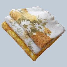 ca 1970 Bath Towels Printed Harvest Gold Avocado Floral Vintage 3