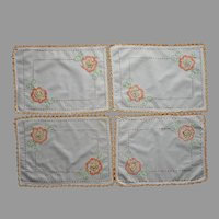 1920s Small Placemats Orange Lace Hand Embroidery Vintage Set 4