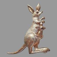 Articulated Kangaroo Pin Vintage Avon Gold Tone Brown Rhinestone Eyes