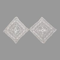 Silk Maltese Lace Square Inserts or Doilies Antique