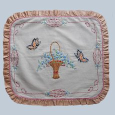 ca 1920 Hand Embroidered Pillow Cover Antique Basket Flowers Butterflies