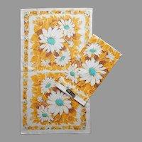 ca 1970 Tea Towels Pair Unused Vintage Harvest Gold Turquoise Linen