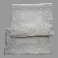 Pair Linen Runners Vintage Simple Light Ecru Hand Embroidered Dots