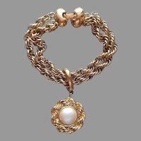 Monet Bracelet Vintage Heavy Rope Twist Chains Faux Pearl Charm Drop