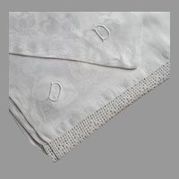 Monogram D Square Tablecloth Antique Linen Damask Filet Crocheted Lace