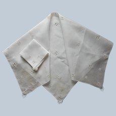 Italian Tea Tablecloth 5 Napkins Vintage Linen Reticella Needle Lace Bits
