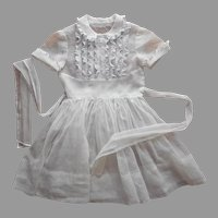 1950s Girls White Organdy and Lace Dress Child's Immaculate Condition