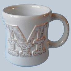 Initial M Stephen Carter Hallmark Mug Monogram White Heavy Pottery