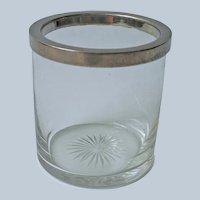 Cigarette Cup Cut Glass Sat Base Silver Metal Rim Vintage Vanity Use