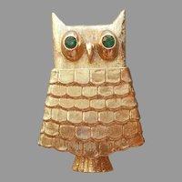 Secret Compartment Owl Pin Avon Vintage Perfume Green Eyes