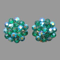 Les Bernard Peacock Green AB Crystal Beads Earrings Vintage Clip On
