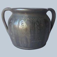 Blackware Black Matte Pottery Vase Jug Vintage Signed Burnished