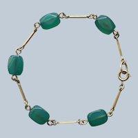 Chrysoprase Gold Filled Bracelet Vintage Polished Stones