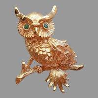 Monet Owl Pin Gold Tone Green Eyes Vintage Figural Textured
