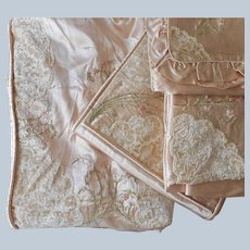 Satin Cut Velvet Embroidery Bedspread Curtains Runners Doilies Set Vintage