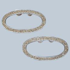 ca 1970 Rhinestone Shoe Clips Simple Open Oval Vintage