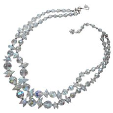 Vendome Crystal 2 Strand Necklace AB Disc Beads Vintage