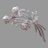 Glass Faux Pearl Pin Rhinestones Vintage Spray Silver Tone