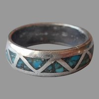 Native American Band Ring Turquoise Inlay Vintage Zigzag 5.5
