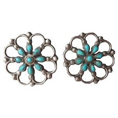 Native American Sterling Silver Turquoise Earrings Petit Point Lacy Screw Back