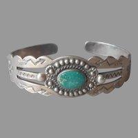 Very Vintage Navajo Native American Cuff Bracelet Turquoise Stamped