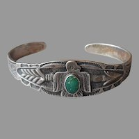 Vintage Native American Stamped Sterling Silver Turquoise Cuff Bracelet Thunderbird