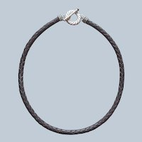 Carolyn Pollack Relios Sterling Silver Leather Necklace Braided American West