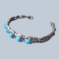 Carolyn Pollack Relios 5 Turquoise Sterling Silver Cuff Bracelet