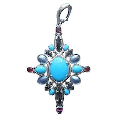 Carolyn Pollack Relios Sterling Silver Pendant Turquoise Onyx Amethyst Shell