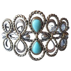 Carolyn Pollack Relios Sterling Silver Turquoise Bracelet Brass Cuff American West