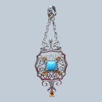 Carolyn Pollack Relios Sterling Silver Turquoise Citrine Pendant Pin Convertible
