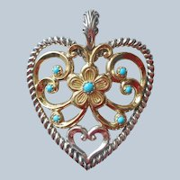 Carolyn Pollack Relios Sterling Silver Turquoise Brass Heart Enhancer Pendant