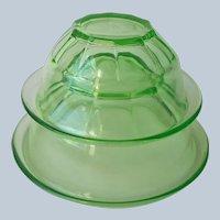 Hazel Atlas Rest Well Green Depression Glass Mixing Bowls Bowl