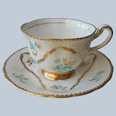 Turquoise Gold Royal Chelsea Bone China Cup Saucer Vintage Flowers