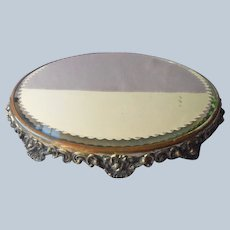 Mirror Plateau Art Nouveau Poppies Ornate Antique Heavy Plate Glass
