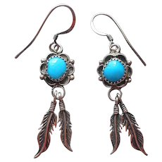 Native American Sterling Silver Earrings 2 Feathers Turquoise Pierced Dangle