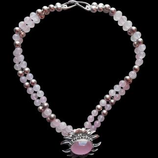 Carol Felley 1988 Rose Quartz Sterling Silver Necklace Vintage