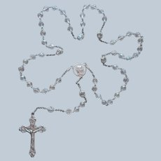 A. K. Sterling Silver Rosary Heavily Constructed Vintage Art Deco Rock Crystal Missing Beads