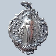 Sterling Silver Miraculous Medal Beautiful Cartouche Shape Vintage