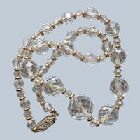 1920s Crystal Beads Necklace Strung On Chain Vintage 15.75 Inches
